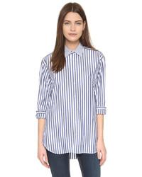 Chemise de ville à rayures verticales blanche et bleue marine Rag & Bone