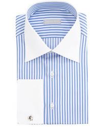 Chemise de ville à rayures verticales blanche et bleue