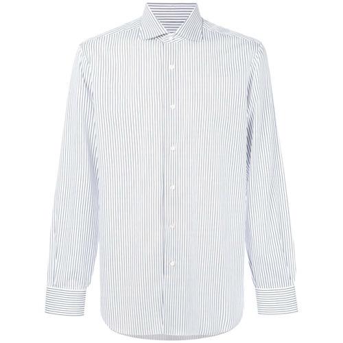 Chemise de ville à rayures verticales blanche et bleue Barba