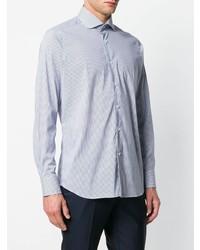 Chemise de ville à rayures verticales blanche et bleue Bagutta
