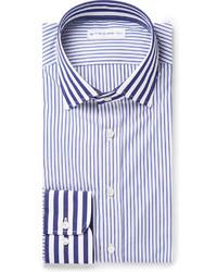 Chemise de ville à rayures verticales blanche et bleue Etro