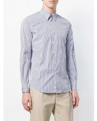 Chemise de ville à rayures verticales blanche et bleue Aspesi