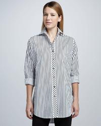 Chemise de ville à rayures verticales blanche et noire