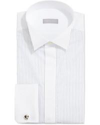 Chemise de ville à rayures verticales blanche