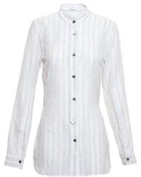 Chemise de ville à rayures verticales blanche Ann Demeulemeester