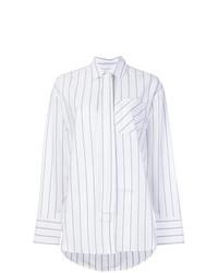 Chemise de ville à rayures verticales blanche MSGM