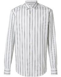 Chemise de ville à rayures verticales blanche Salvatore Ferragamo