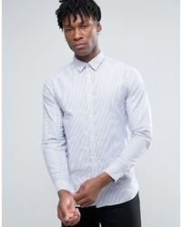 Chemise de ville à rayures verticales blanche Selected