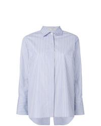 Chemise de ville à rayures verticales bleu clair Alberto Biani