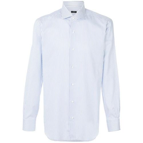 Chemise de ville à rayures verticales bleu clair Barba