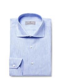 Chemise de ville à rayures verticales bleu clair Canali