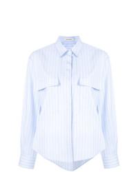 Chemise de ville à rayures verticales bleu clair Cédric Charlier