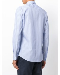Chemise de ville à rayures verticales bleu clair Fashion Clinic Timeless