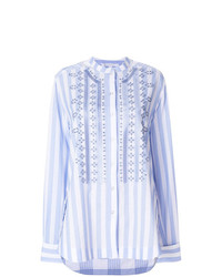 Chemise de ville à rayures verticales bleu clair Ermanno Scervino