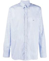 Chemise de ville à rayures verticales bleu clair Etro
