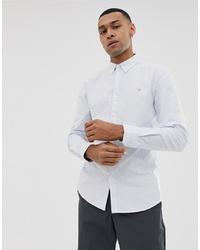 Chemise de ville à rayures verticales bleu clair Farah