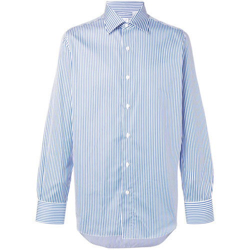 Chemise de ville à rayures verticales bleu clair Finamore 1925 Napoli