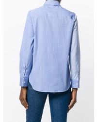 Chemise de ville à rayures verticales bleu clair Golden Goose Deluxe Brand