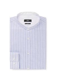 Chemise de ville à rayures verticales bleu clair Hugo Boss