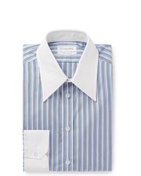 Chemise de ville à rayures verticales bleu clair Kingsman