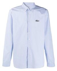 Chemise de ville à rayures verticales bleu clair Lacoste