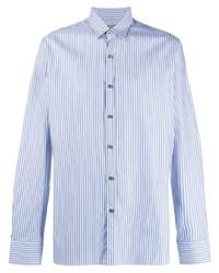 Chemise de ville à rayures verticales bleu clair Lanvin