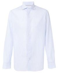 Chemise de ville à rayures verticales bleu clair Loro Piana