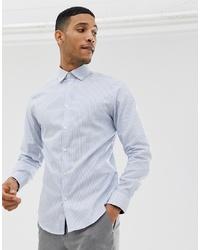 Chemise de ville à rayures verticales bleu clair Selected Homme