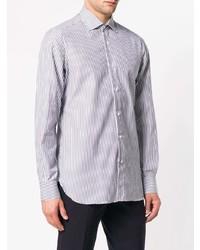 Chemise de ville à rayures verticales bleu clair Isaia
