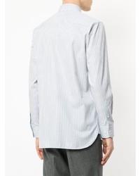 Chemise de ville à rayures verticales bleu clair Gieves & Hawkes