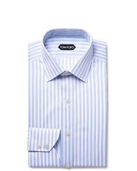 Chemise de ville à rayures verticales bleu clair Tom Ford