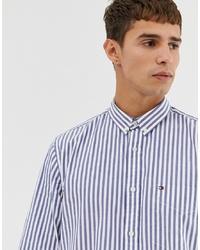 Chemise de ville à rayures verticales bleu clair Tommy Hilfiger