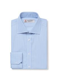 Chemise de ville à rayures verticales bleu clair Turnbull & Asser