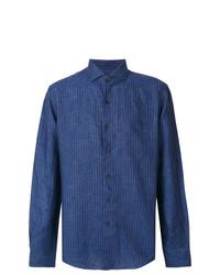 Chemise de ville à rayures verticales bleu marine Xacus