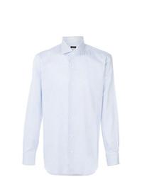 Chemise de ville à rayures verticales bleue claire Barba