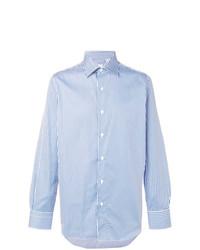 Chemise de ville à rayures verticales bleue claire Finamore 1925 Napoli