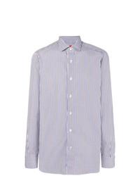 Chemise de ville à rayures verticales bleue claire Isaia