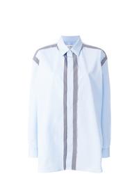 Chemise de ville à rayures verticales bleue claire Maison Margiela