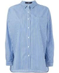 Chemise de ville à rayures verticales bleue
