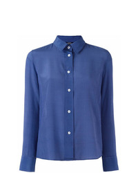 Chemise de ville à rayures verticales bleue A.P.C.