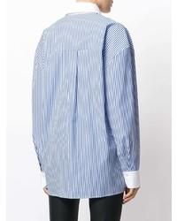 Chemise de ville à rayures verticales bleue Alexandre Vauthier