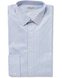 Chemise de ville à rayures verticales bleue Charvet