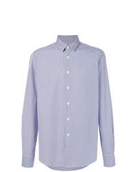Chemise de ville à rayures verticales bleue Dell'oglio