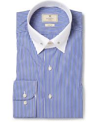 Chemise de ville à rayures verticales bleue Hackett