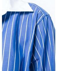 Chemise de ville à rayures verticales bleue Maison Margiela