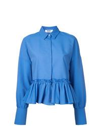Chemise de ville à rayures verticales bleue MSGM
