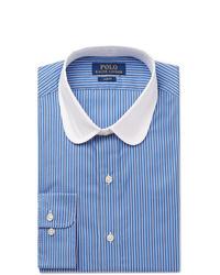 Chemise de ville à rayures verticales bleue Polo Ralph Lauren