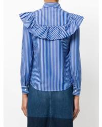 Chemise de ville à rayures verticales bleue RED Valentino