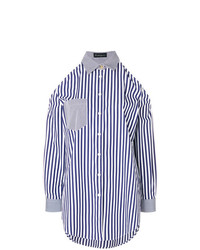 Chemise de ville à rayures verticales bleue Rossella Jardini