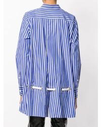 Chemise de ville à rayures verticales bleue Sacai